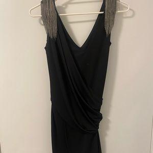 Witchery black mini dress with chain detail